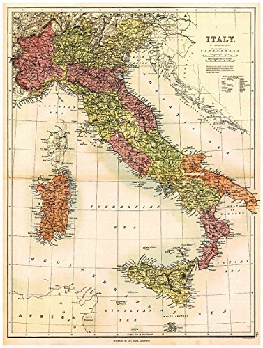 MAP of ITALY, SARDINIA & SICILY by J. Bartholomew circa 1890 - measures 32