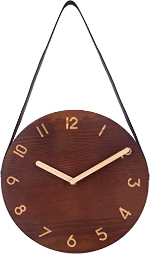 Wall Clock, Retro Analog Clock with Hanging Strap, Silent Non-Ticking Wooden Clock for Bedroom, Living Room, Kitchen, Cafe, Office – 10 Inch, Dark Wood
