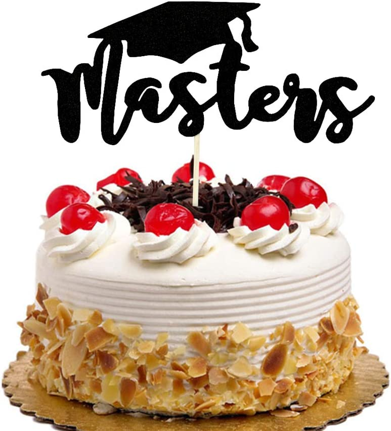WoHappy Black Masters Cake Topper - Glitter Congrats Grad Party Decors- Class of 2019 Graduation with Graduate Cap Party Decorations