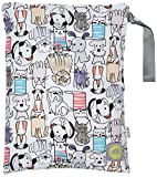 Itzy Ritzy Travel Happens Sealed Wet Bag with Adjustable Handle, Raining Cats & Dogs, Multi, Medium