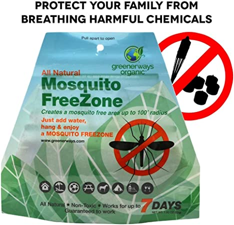 Amazon Com Greenerways Organic Mosquito Repellent Zone Non Toxic Organic Insect Repellent All Natural Outdoor Mosquito Pest Control Bug Free 24 7 Up To 100 Ft Radius Deet Free Safe For Kids Babies Dogs