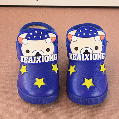 Clode® Baby Fashion Sneaker Kind Mädchen Jungen Cartoon Brief Leder Boot Warme Schuhe Blau