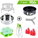 Instant Pot Accessories Set with Steamer Basket Egg Steamer Rack Non-stick Springform Pan Steaming Stand 1 Pair Silicone Cooking Pot Mitts Silicone Egg Bites Molds Foldable Bowl Plate Dish Clip Clamp