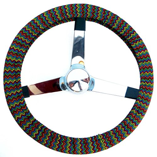 Mana Trading Handmade Steering Wheel Cover Mini Rainbow Chevron