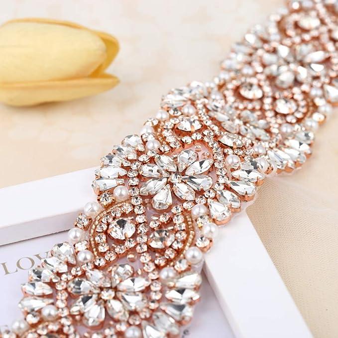 Rhinestone Trim for Bridal Sash Wedding Crystal Trimming Rose Gold Claws  DIY Belts and Dress Decorative db5f0ae6cf89