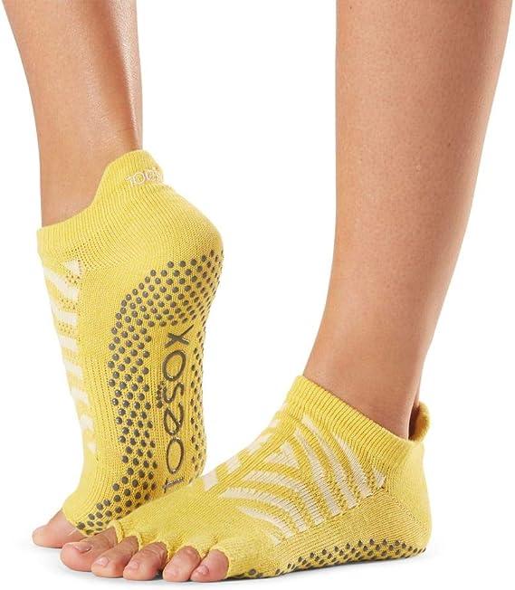 TALLA S. Toesox Calcetines Antideslizantes Media Altura para Yoga, Pilates, Calcetines Antideslizantes de Fitness - 1 par
