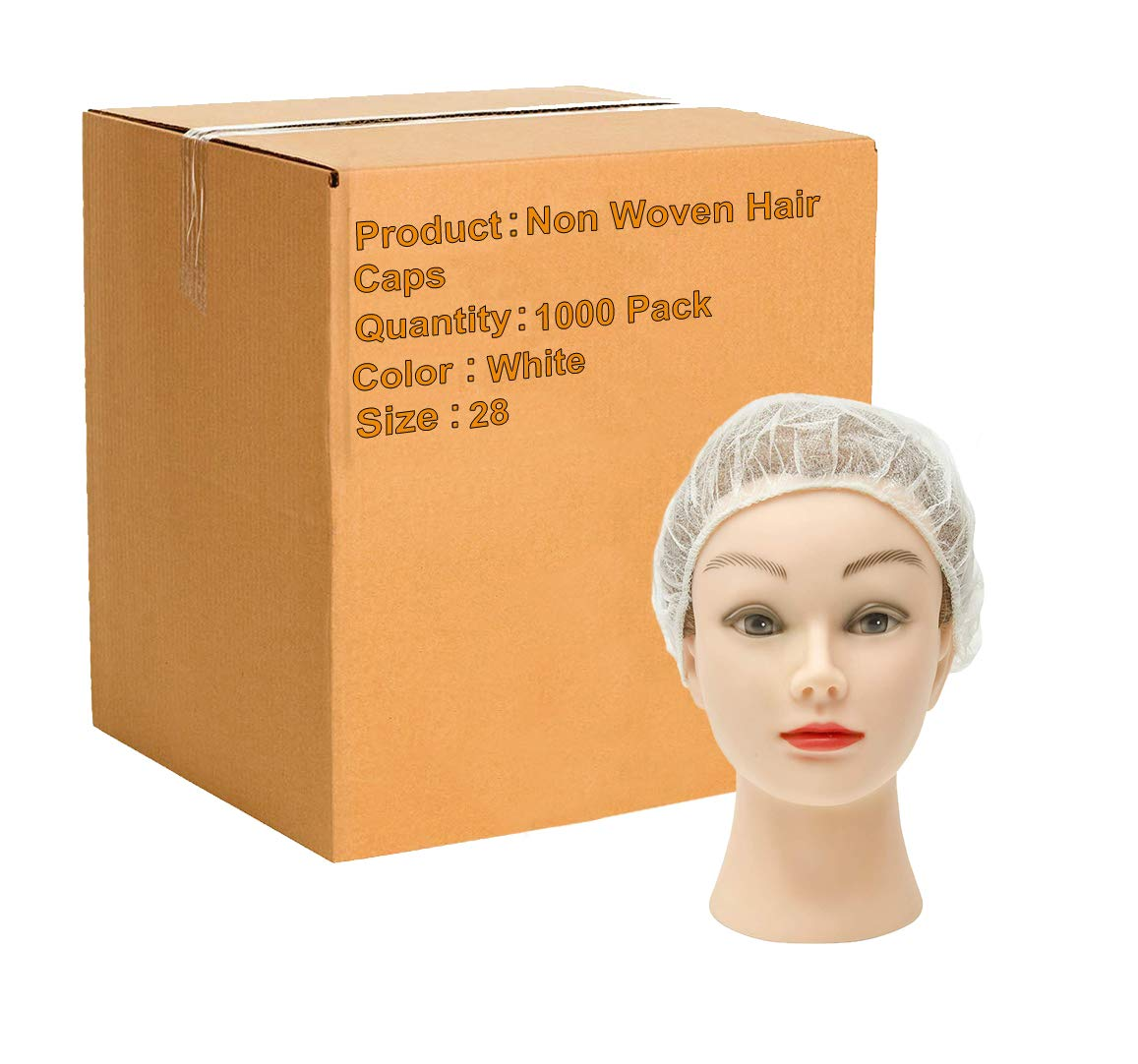 1000 Pack White Bouffant Caps 28''. Non Woven Hair Caps with elastic stretch band. Disposable Polypropylene Hats. Unisex Protective Hair Covers for food service, medical use. Breathable, Lightweight. by ABC Pack & Supply