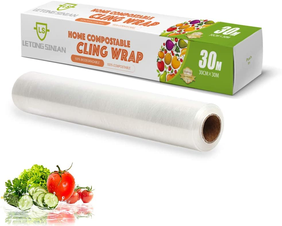 Biodegradable Plastic Wrap for Food, Compostable Cling Wrap with Slide Cutter, 98 Square Foot Roll, BPA Free Plastic Wrap (Pack of 1)