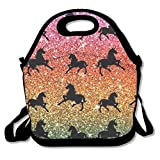 Rainbow Glitter Unicorns Lunch Bag Lunch Tote Lunch Pouch Handbag Made For Women, Men And Kids