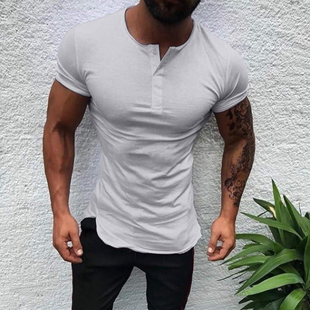Juleya Camiseta de Manga Corta de los Hombres Camiseta Casual de Manga Corta Blusa Entallada con Cuello musculoso de algodón Liso Media Camiseta Abierta Suave Cómodo Transpirable S-3XL: Amazon.es: Ropa y accesorios