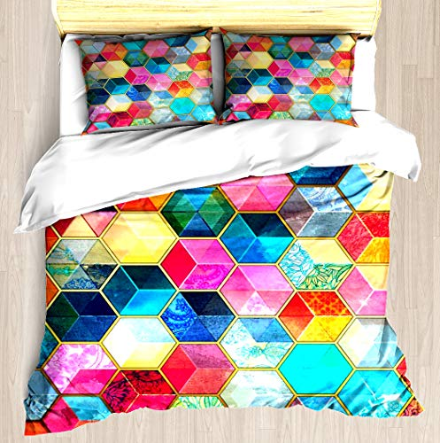 Cube Comforter Set (Crystal Bohemian Honeycomb Cubes - colorful hexagon pattern - Duvet Cover Set Soft Comforter Cover Pillowcase Bed Set Unique Printed Floral Pattern Design Duvet Covers Blanket Cover Queen / Full Size)