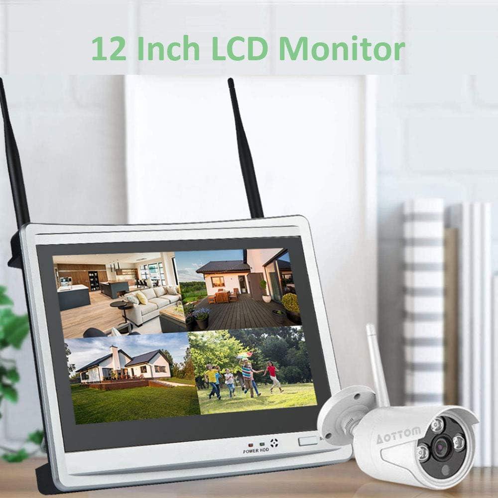 D/étection de Mouvement /économiseur d/'/écran Automatique Alarme Email App pour P2P AOTTOM 8CH 1080P WiFi Syst/ème de Vid/éosurveillance NVR Sans Fil l/écran LCD 12 4 Cam/éras 2MP Pas de Disque Dur