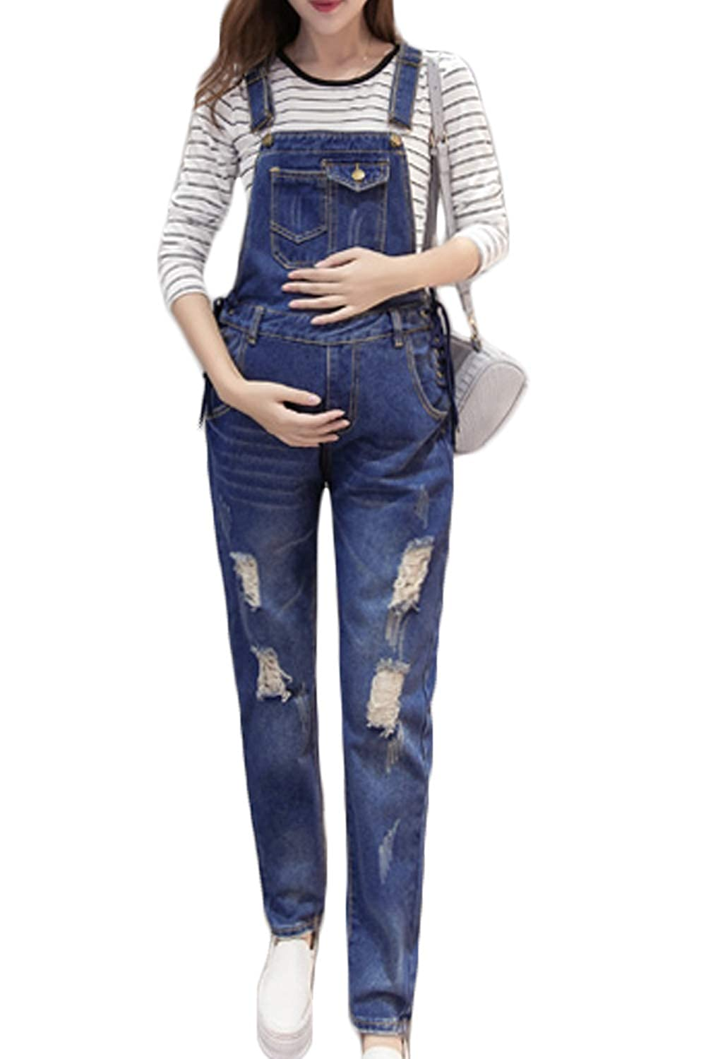 Simgahuva Women Maternity Denim Overalls Adjustable Jumpsuit Fit Belly Pants