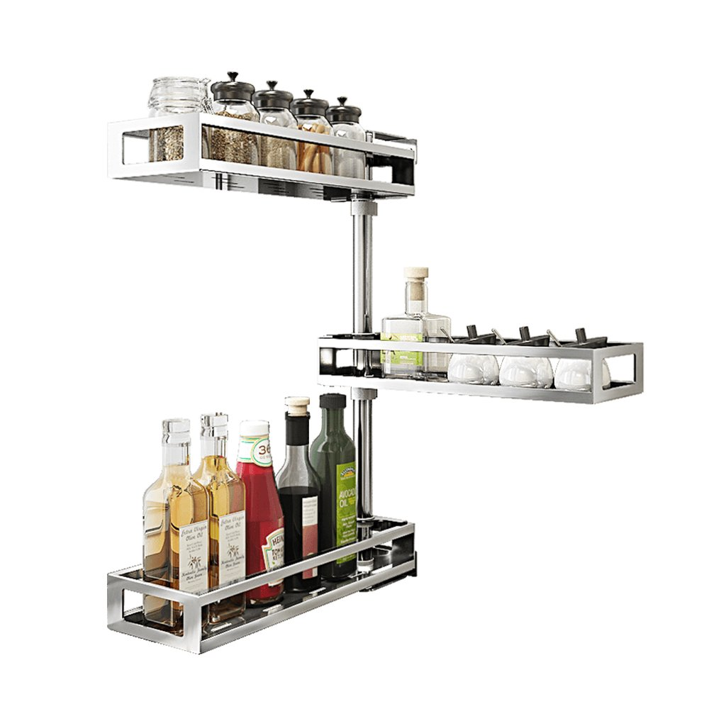 Punch-free stainless steel kitchen seasoning rack, shelf rotation angle, wall-mounted condiment storage shelf, space saving by AD