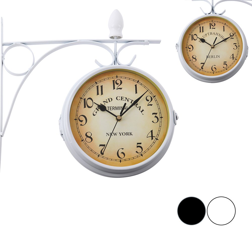 Iglobalbuy Outdoor Garden Double Sided Clock,Wall Mounted Clock Station Clock with Bracket(Black) Iglobalbuy Co ltd