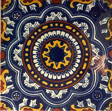 Amazon.com: 4.25 x 4.25 mexicano pintado a mano Talavera ...