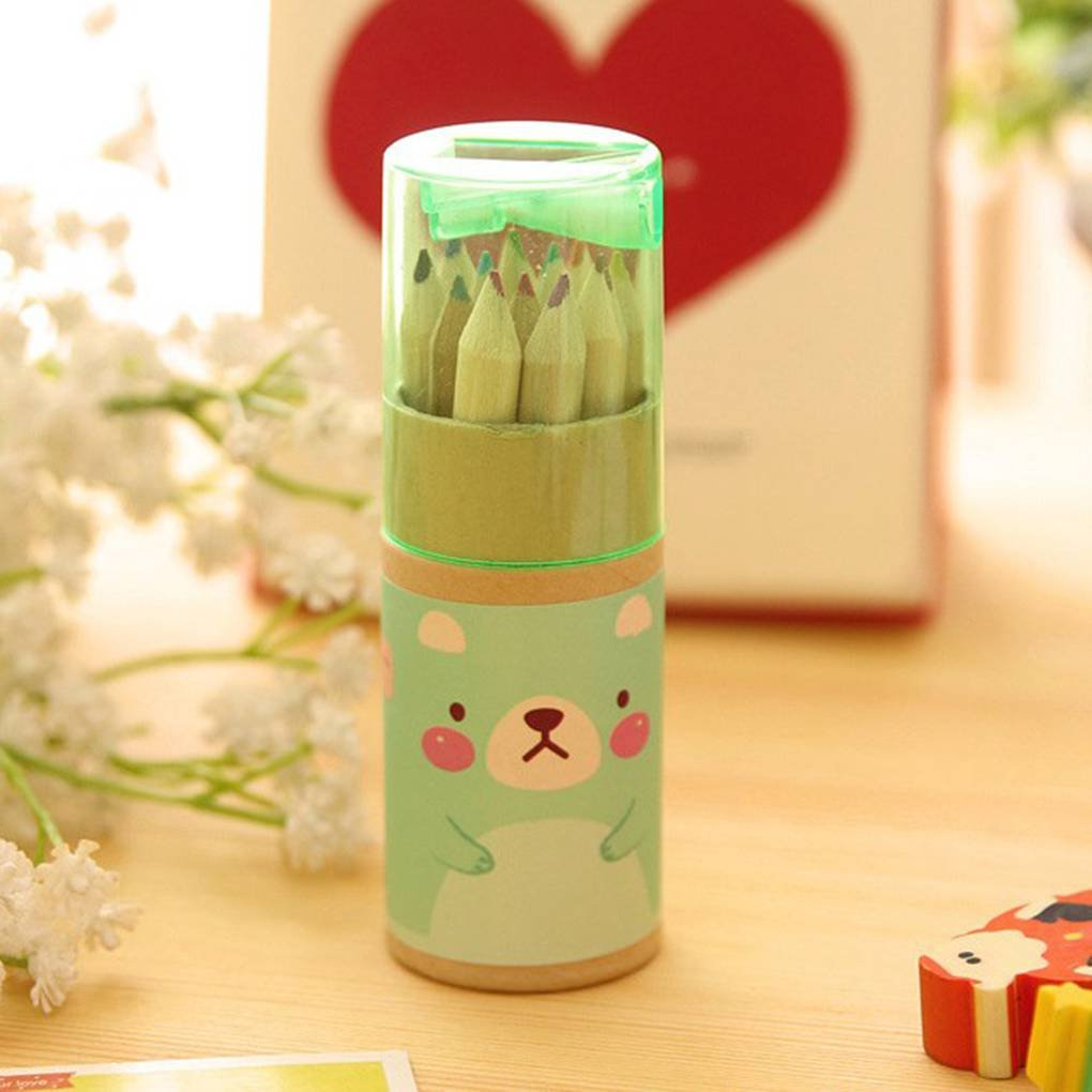 Lorsoul 12 Couleur Mini Ours Taille Crayons de Couleur avec bo/îte diverses Couleurs