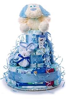 Tarta de pañales DODOT. Un regalo original para el bebé recién nacido, incluyendo peluche,…