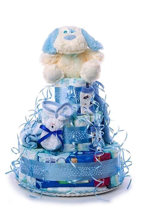 Tarta de pañales para bebé niño. Un regalo original para el bebé recién nacido, incluyendo 55 pañales de la marca DODOT más peluche más calcetín más ...