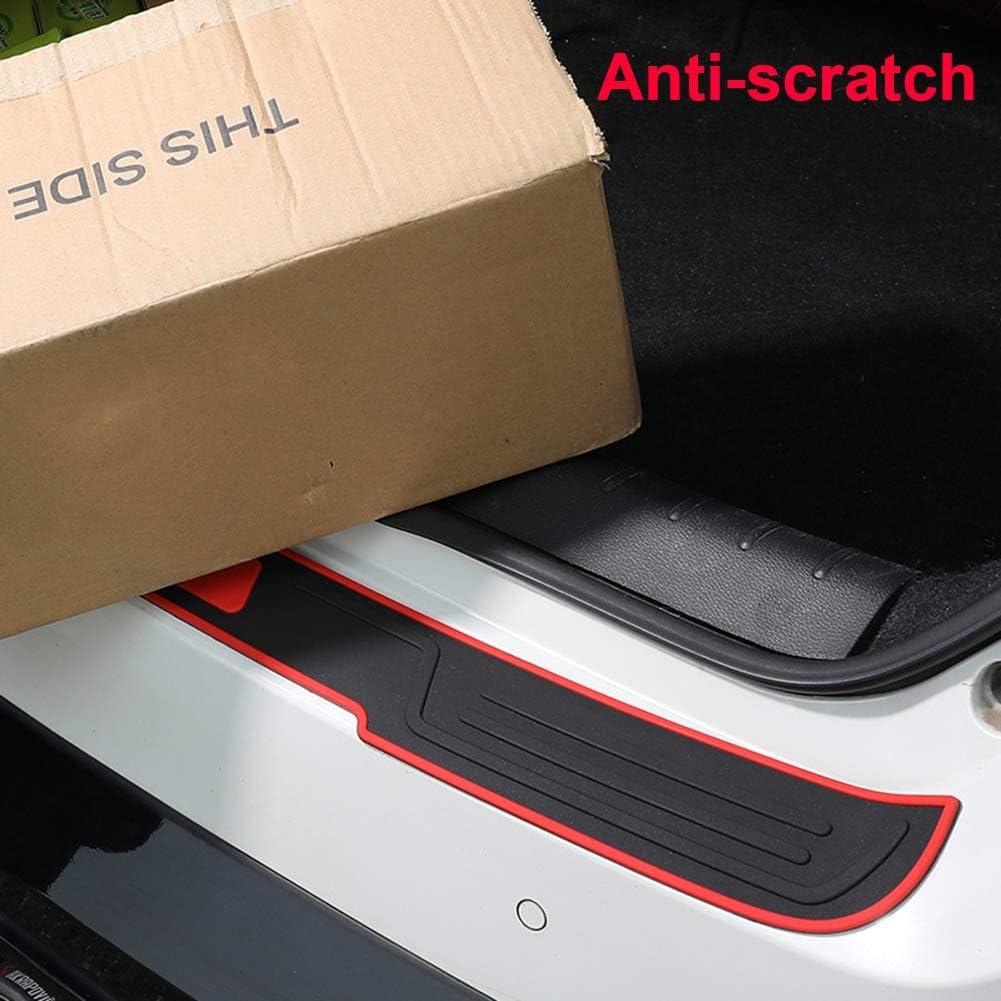 ZaCoo Car Rear Trunk Bumper Protector Guard 3D Sports Style Auto Rubber Trunk Scratch Bar Universal for Car SUV Truck Pickup Black 35.5Inch