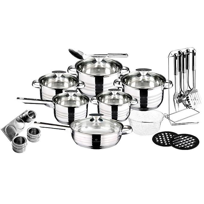 Blaumann set de utensilios de cocina de acero inoxidable Jumbo 27, Gourmet Line, BL-3134: Amazon.es: Hogar