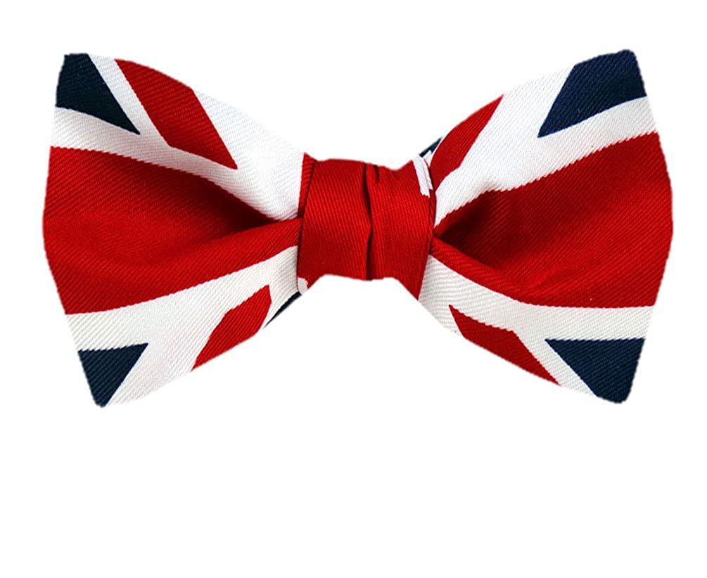 PBT-FLAG-313 - Red - White - Blue - UK Flag Union Jack Pre Tied Bow Tie