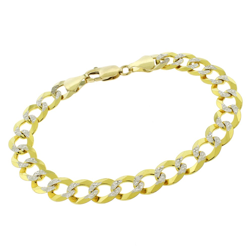 14k Yellow Gold 9.5mm Solid Cuban Curb Link Diamond Cut Two-Tone Pave Bracelet Chain 9''