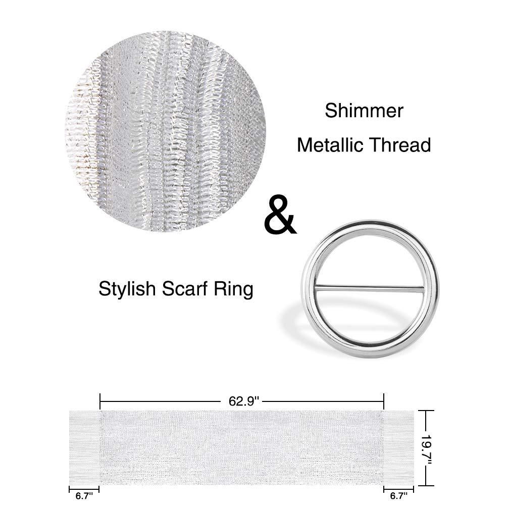 KAVINGKALY Scialli e impacchi per abiti da sera Sciarpa avvolgente con scialle con frange metallizzate scintillanti
