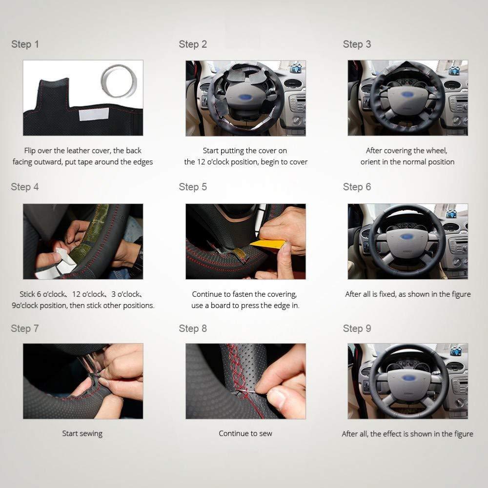 CYBHR Decoraci/ón del autom/óvil Accesorios para autom/óviles Hechos a Mano Interior del autom/óvil Cubierta del Volante del autom/óvil para Suzuki Grand Vitara 2007-2013
