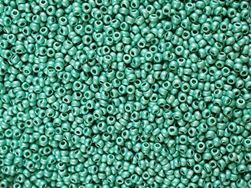 20 Grams 10/0 Preciosa Czech Round Glass Seed Beads, Turquoise Green Terra Metallic Matt