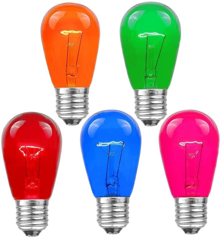 Novelty Lights 25 Pack S14 Outdoor Patio Edison Replacement Bulbs, E26 Medium Base, Multi, 11 Watt