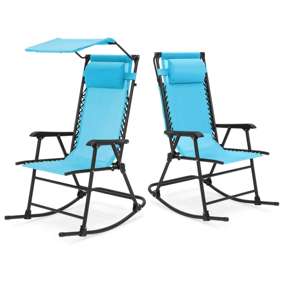 Kls14 modern zero gravity foldable rocking patio chair lightweight space saving design solid powder coated frame canopy indoor outdoor furniture decor set