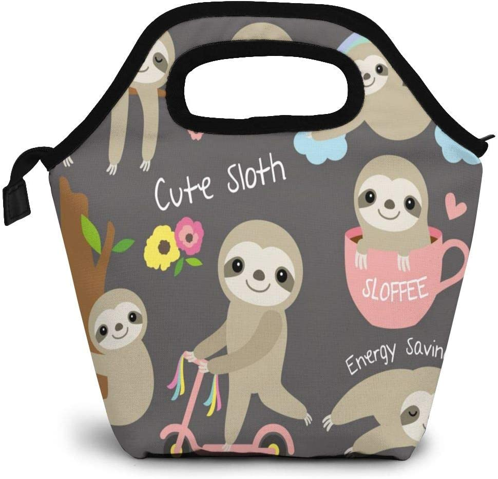Cute Sloth Insulated Lunch Portable Carry Tote Picnic Storage Bag Cartoon Animal And Flower Pattern Lunch Box Food Bag Gourmet Handbag Cooler Warm Pouch Tote Bag For Work Office