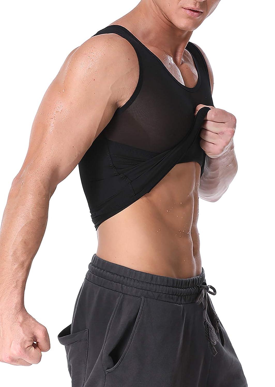 Bslingerie Mens Body Shaper Slimming Vest Posture Corrector Top Compression Shirt