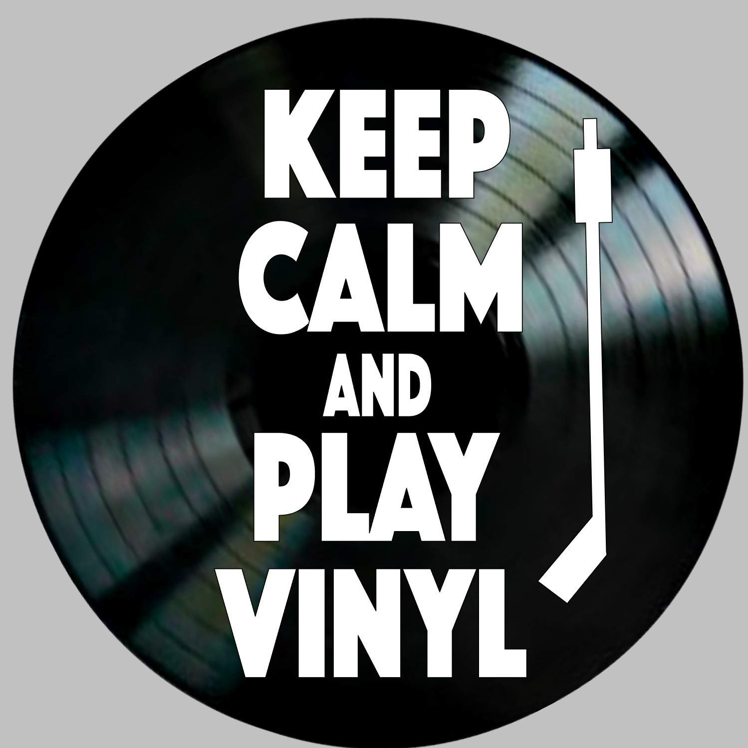 Keep Calm and Play Vinyl quote on a Record Album Wall Art Home Decor Gift