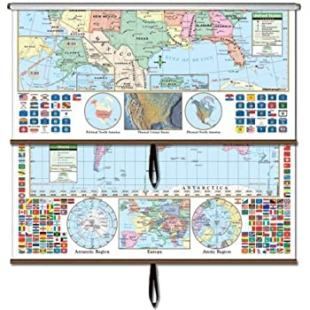 Amazoncom USWorld Primary Wall Map Combo Roller Primary - Wall maps of the world