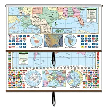 Amazoncom USWorld Primary Wall Map Combo Roller Primary