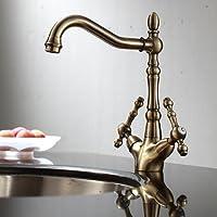 ENKI Mélangeur en laiton pour évier style traditionnel bronze antique VICTORIA