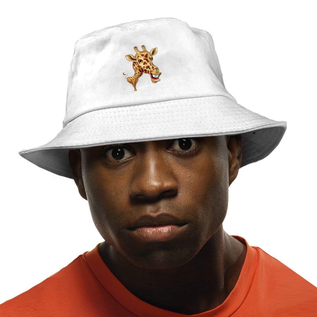 PPAN Funny Deer Unisex Cotton Packable White Travel Bucket Hat Fishing Cap