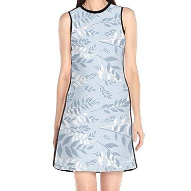 Hakalala Dress Womens Dresses Blue White Leaves Spring Dresses