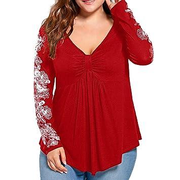 blusas mujer tallas grandes baratas, Sannysis camisetas manga larga flor decoración elegantes mujer invierno blusa