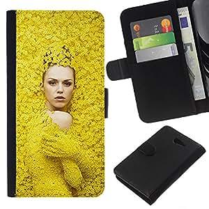 A-type (Fashion Spring Woman Design) Colorida Impresión Funda Cuero Monedero Caja Bolsa Cubierta Caja Piel Card Slots Para Sony Xperia M2