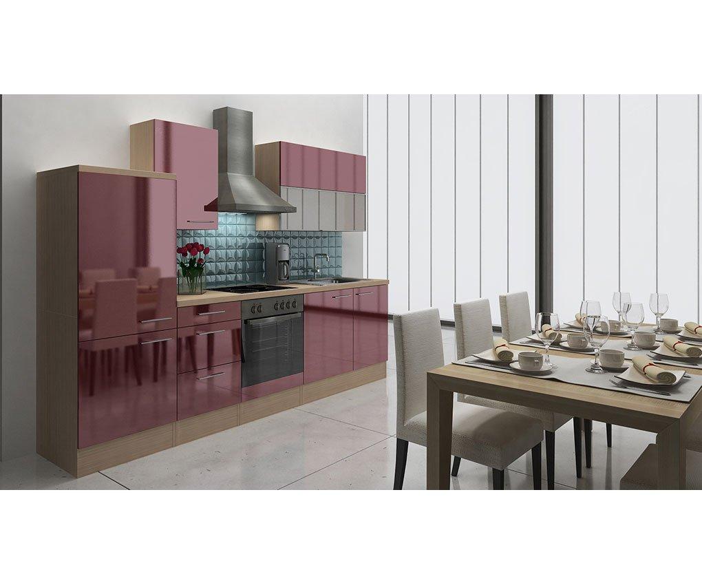 respekta Küchenleerblock 280 cm Akazie Nachbildung Bordeaux Hochglanz