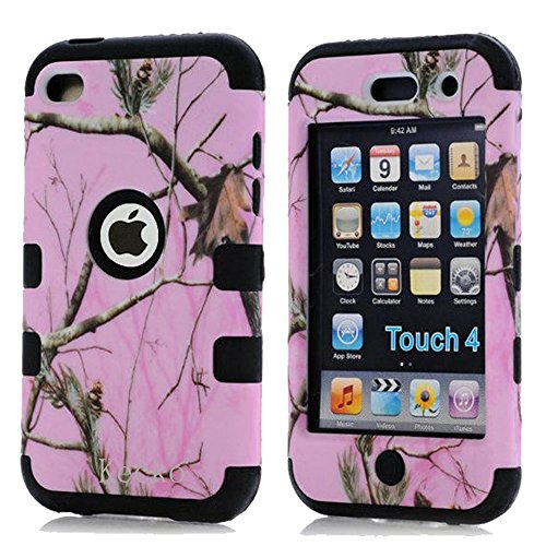 Kecko®Dual Layer Defender Tough Armor Realtree Camouflage Hunting Tree Shockproof High Impact Hybrid Silicon Hard Suitable Fit Camo Case Cover for Girls & Boys For ipod Touch 4 4th Generation