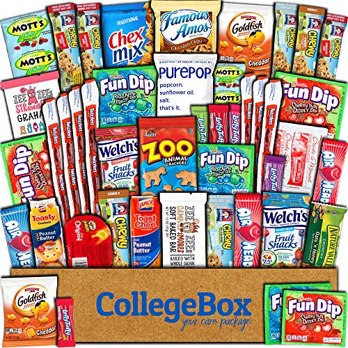 CollegeBox Care Package (45 Count) Snacks Cookies Bars Chips Candy Ultimate Variety Gift Box Pack Assortment Basket Bundle Mixed Bulk Sampler Treats College Finals Students Office Trips Summer Camp]()