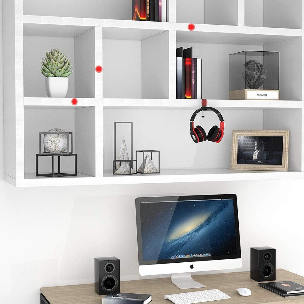 Kalaok Soporte para auriculares universal Soporte para gancho para auriculares Soporte de montaje en escritorio Aleaci/ón de aluminio con abrazadera plegable Admite instalaci/ón vertical horizontal