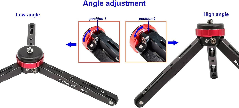 Koolehaoda Desktop Mini Tripod,Portable tripod for 1//4 or 3//8 Monopods SLR Camera,maximum load:30KG,CNC manufacturing process MT-01