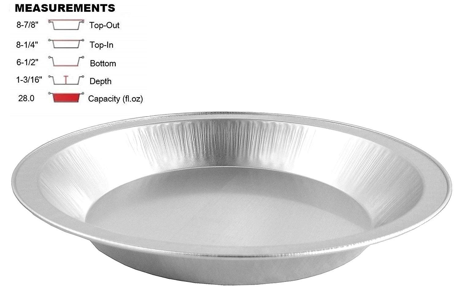 Pactogo 9'' Disposable Heavy Smooth-Wall Aluminum Foil Pie Pans (Pack of 100)