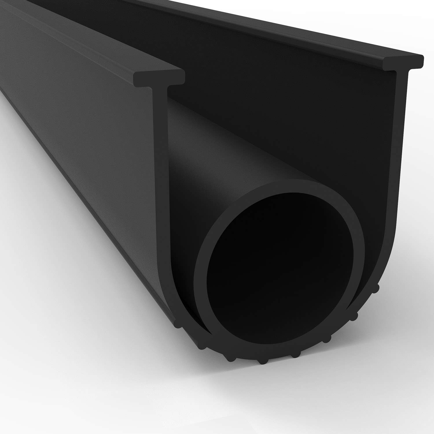 BOWSEN Garage Door Seals Bottom Rubber Weatherproof Threshold Buffering Replacement Black 1/4 Inch T-End,16ft Long
