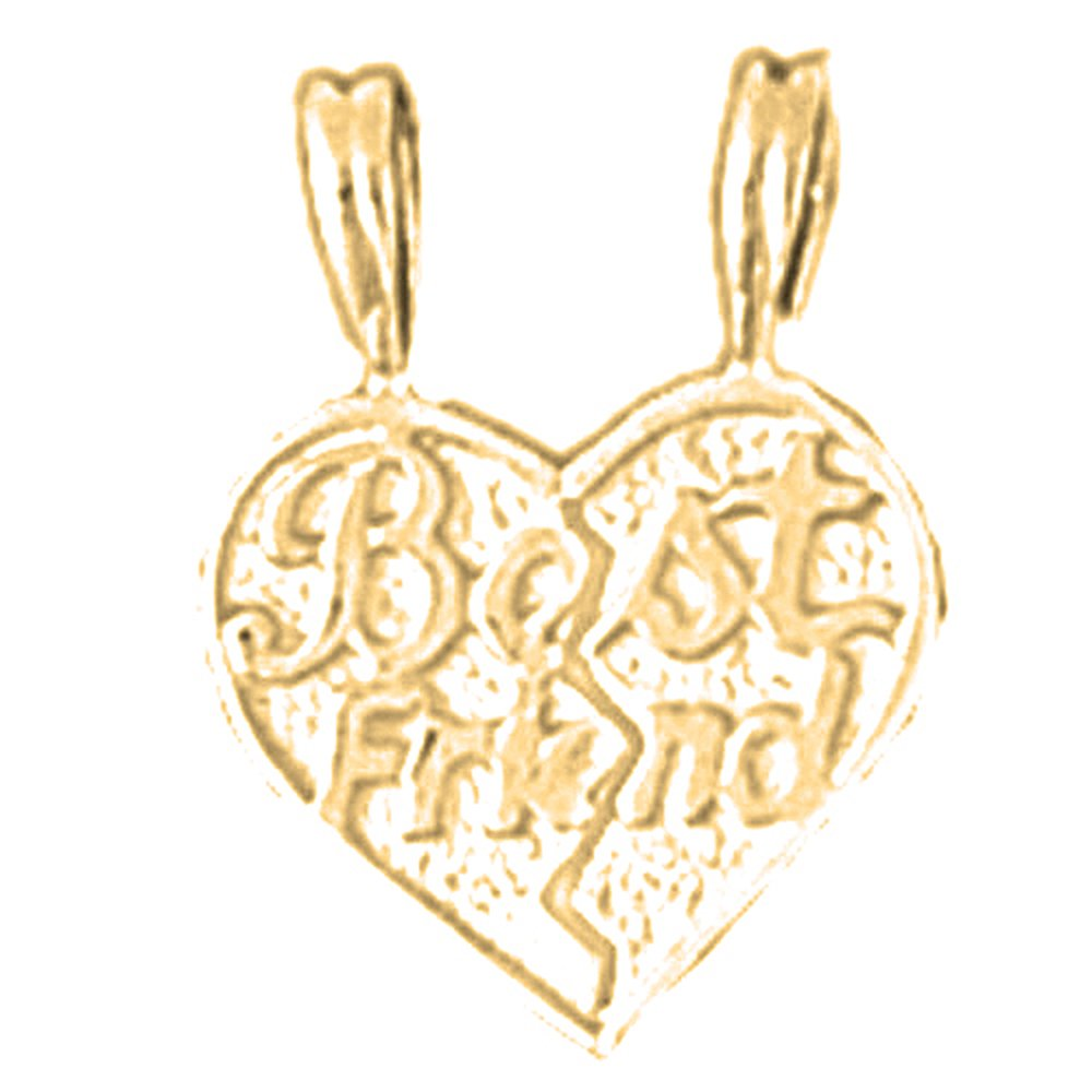 14K Yellow Gold-plated 925 Silver Best Friends In Heart Pendant with 18 Necklace Jewels Obsession Best Friends In Heart Necklace